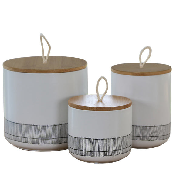 Decorative Canister w/Lid Set of 3