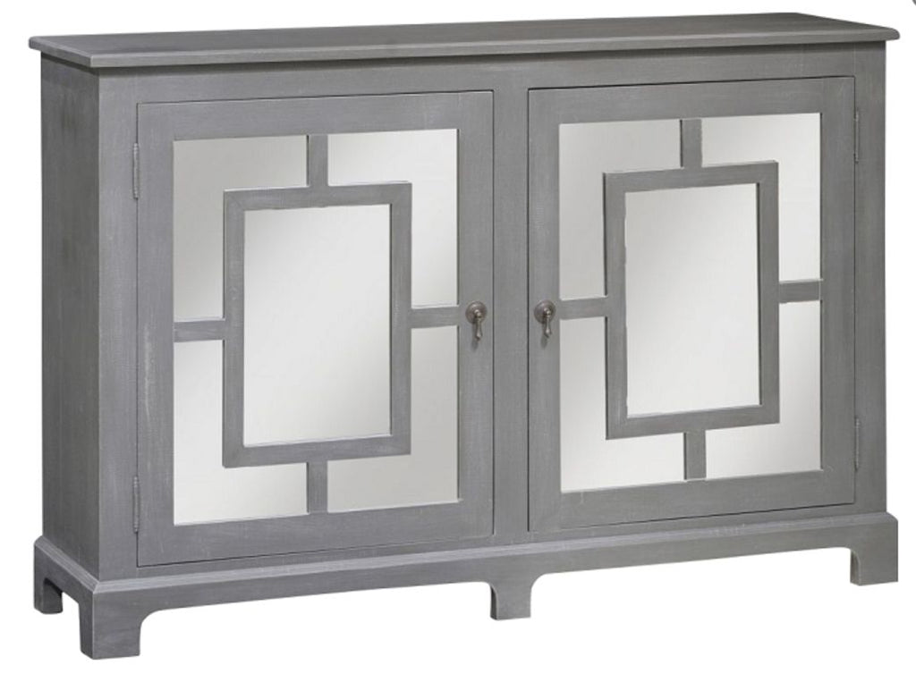 Mirrored door cabinet in charcoal finish