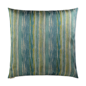 Aqua and Lime Stripe Pillow 22x22
