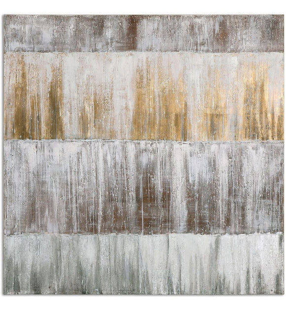 Gold, Gray and Silver Abstract Artwork on Canvas