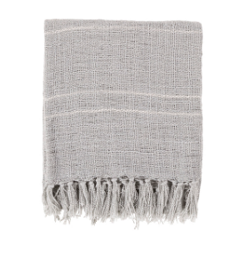 Woven Fringe Gray, White Throw