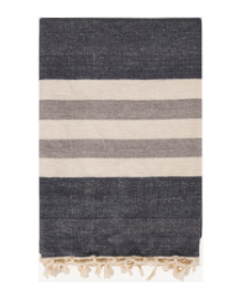 Woven w/Fringe Charcoal, Cream, Gray Throw