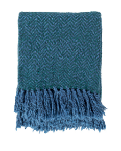 Woven Fringe Bright Blue, Dark Green