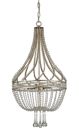 Chandelier with beaded crystal in silver leaf finish