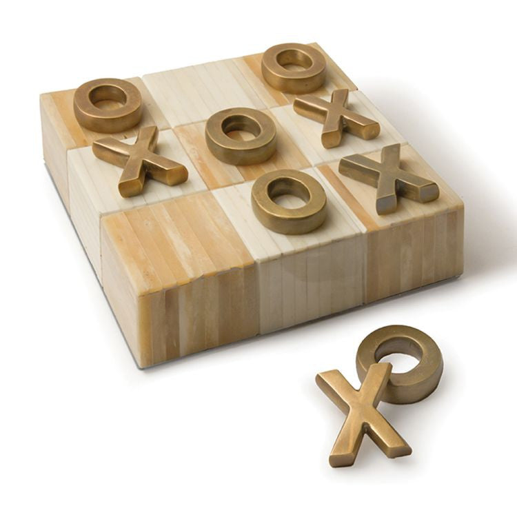 Tic Tac Toe Flat with Brass Pieces