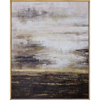 Abstract Art in Black Gray Gold and White