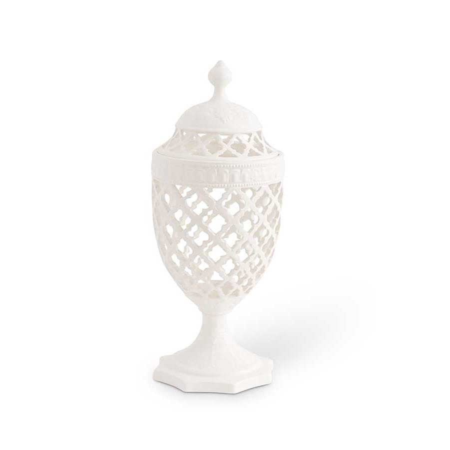 Ceramic Filigree Lidded Urn