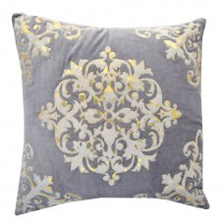 Decorative Gray with Hide and Gold Leaf Embroidery 20x20