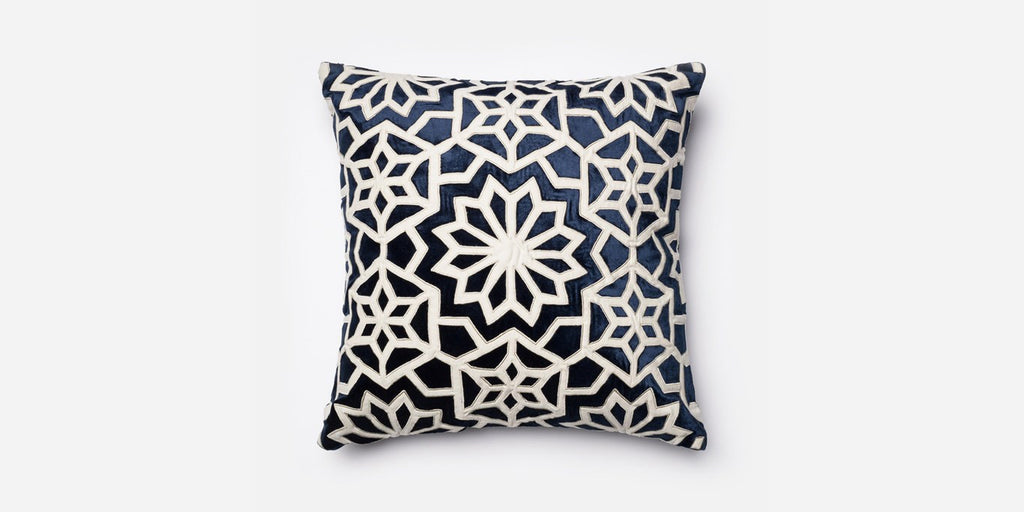 Navy and Ivory 100% Cotton Velvet Pillow