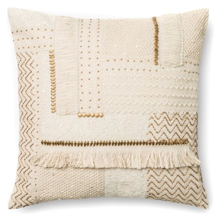 Beige Quilted Hand Woven Pillow