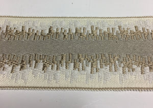 Cream and Taupe  Embroidered Flat Tape
