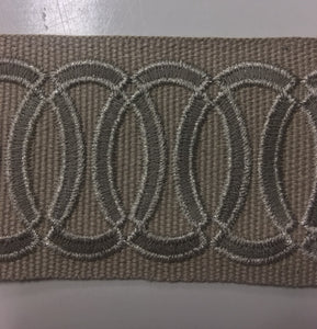 Silver and Taupe Circle Embroidered Flat Tape