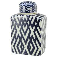 Blue & White Lattice Jar