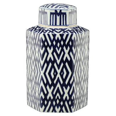 Blue and White Lattice Hexagon Lidded Jar