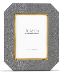 Gray Faux Leather Photo Frame