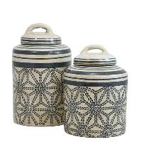 Lg Beige and Blue Decorative Jar w/Lid