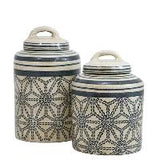 Beige and Blue Decorative Jar Set of 2 (with lids)