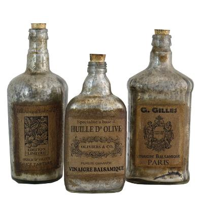Decorative Mercury Glass Bottle w/Cork Stop Set of 3