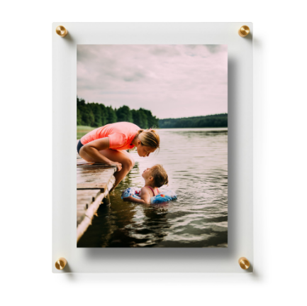 Acrylic Floating Frame with Gold Hardware