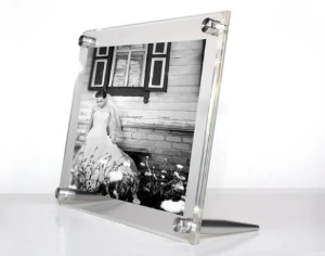 Tabletop Acrylic Double Frame With Silver Hardware