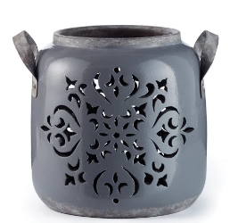 Gray Filigree Lantern Vase