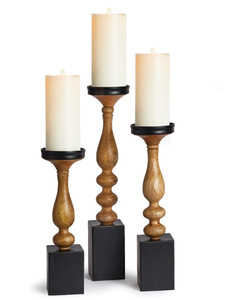 Set of 3 Turned Wood Candle Stand