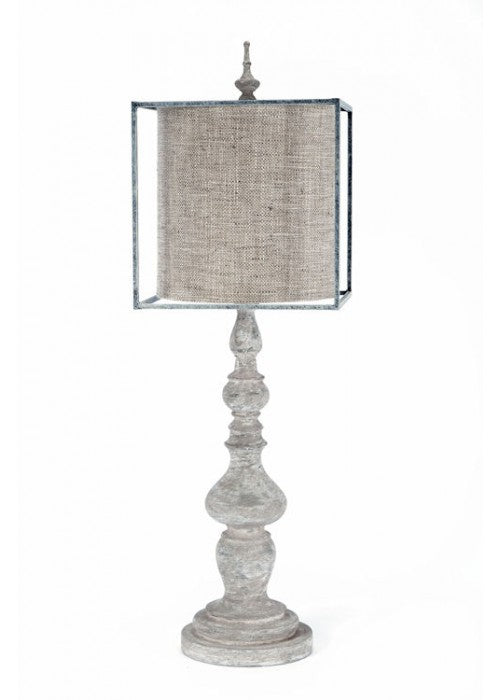 Aged Gray Lamp w/Square Metal Shade