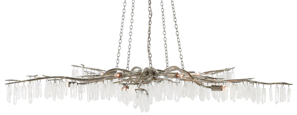 Wrought Iron Branches w/Quartz Crystal Chandelier