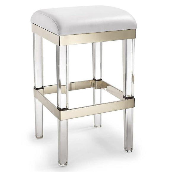 Clear Acrylic, Brushed Brass, and Creamy Leather Bar Stool