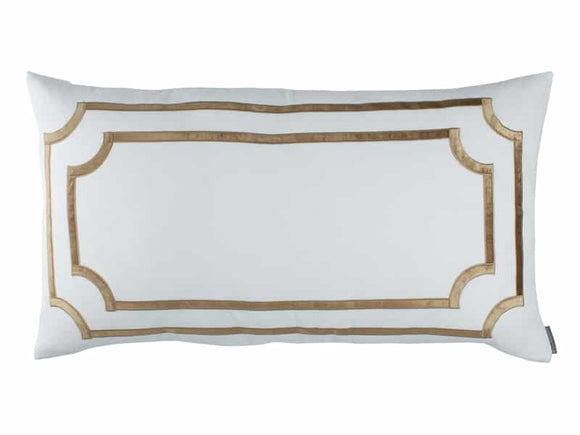 White Linen with a Straw Velvet Double Border Pillow