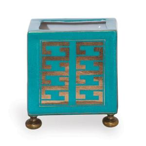 Gold & Teal Greek Key Planter