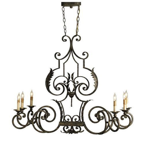 Wrought Iron Antique Gold Leaf Oval Chandelier