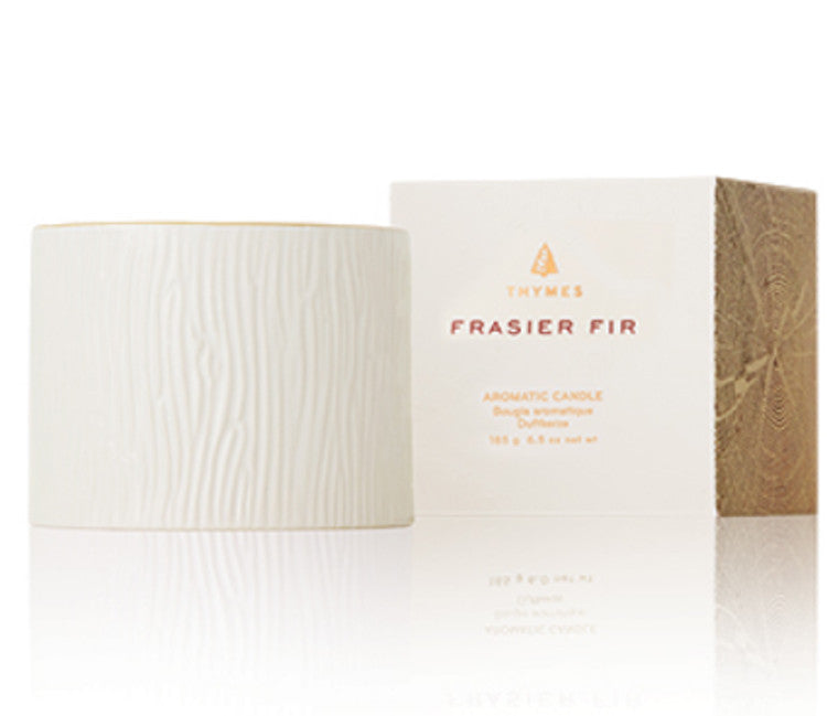 Thymes Frasier Fir Ceramic Candle, White w/ Gold Rim 6oz