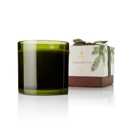 Thymes Frasier Fir 3-wick Poured Candle  17oz Green Glass