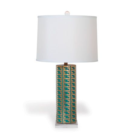 Teal and Gold Greek Key Lamp