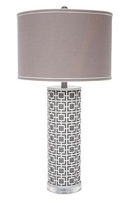 Gray and White Metal Cutout Lamp
