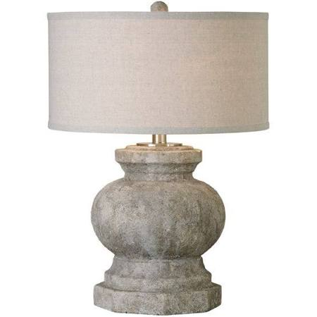 Textured ceramic Lamp w/Linen Shade