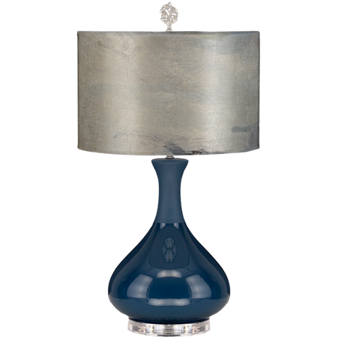 Indigo Lamp with Watercolor Shade