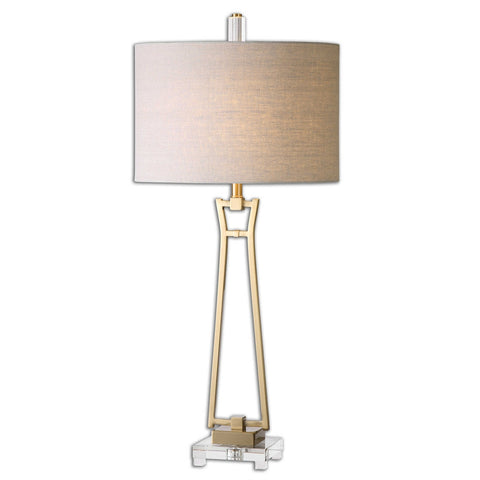 Brushed Antiqued Gold  Lamp w/Crystal Foot