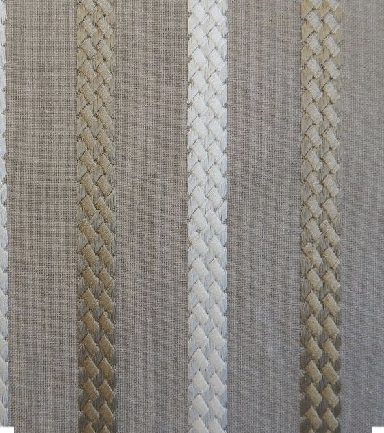 Linen Blend Embroidered Stripe fabric