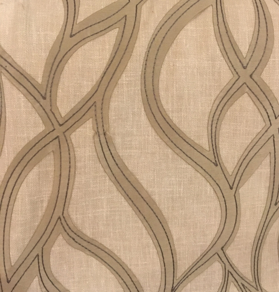 Faux linen with faux leather embroidery
