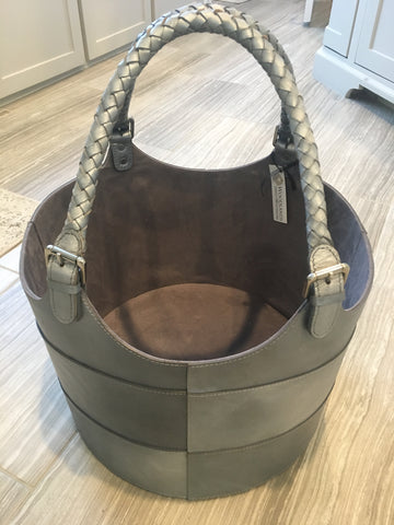 Leather bucket tote or basket