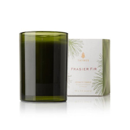 Thymes Frasier Fir Poured Candle  Green Glass 10oz