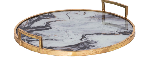 Marble and Gold Round Tray