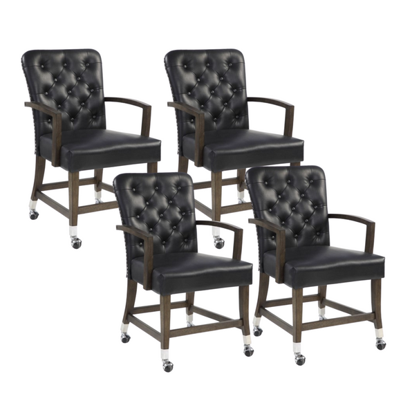 Watertree Arm Chairs with Castors (Set of 4)