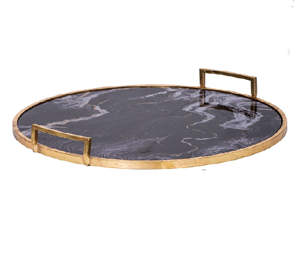 LG Marble and Gold Round Tray