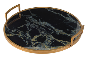 Black Marble Mirror Tray