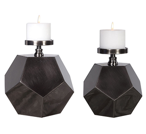 Steel Polygon Candleholders Set of 2 (candles not included)