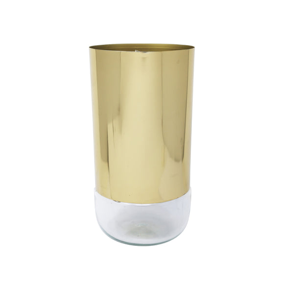 Elegant Gold and Glass Table Vase