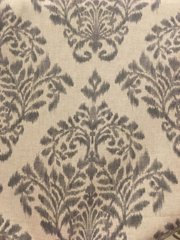 Damask Fabric in Gray on Linen